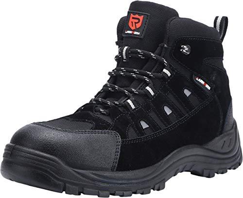 LARNMERN Chaussures de sécurité pour Hommes à Bout en Acier, Chaussures de Travail extérieures Anti-perforantes (44 EU Noir)