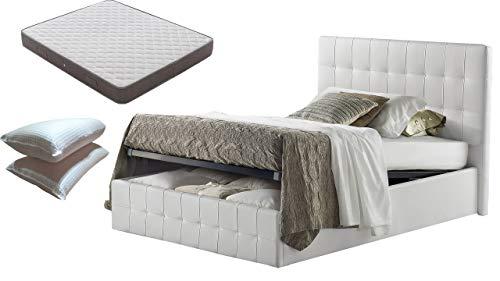 Letto piazza e mezza con Box Contenitore bianco + Materasso piazza e mezza altezza 20 cm+ coppia guanciali in fibra 3D