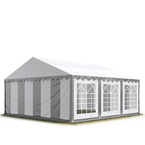 TOOLPORT Party-Zelt Festzelt 3x6 m Garten-Pavillon -Zelt 500g/m² PVC Plane in grau-weiß Wasserdicht