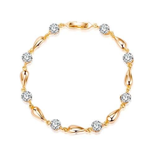 Yazilind plaqué Or Bracelet Mode Goutte d'eau Jolie Zircon pour Les Femmes (Blanc)