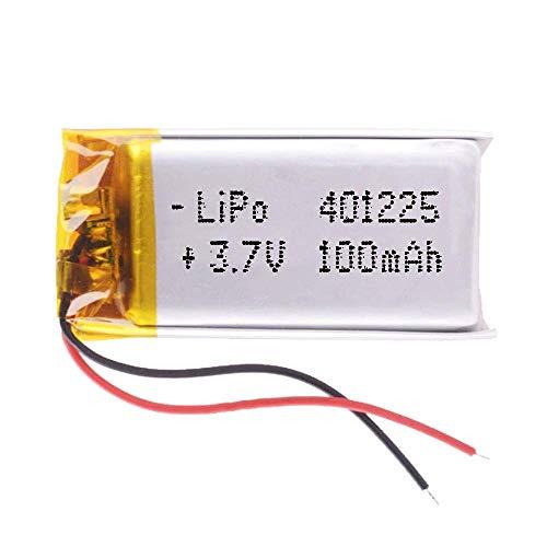 DronePost Batterie 401225 LiPo 3.7V 100mAh 1S Wiederaufladbar Handy Tragbar Video Licht Led GPS (3.7V 100mAh 401225)