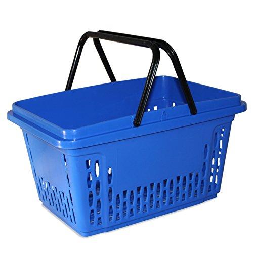 Einkaufskörbe aus Kunststoff mit 2 Bügeln 40 Liter Polypropylen bunte Farbauswahl (1, blau)