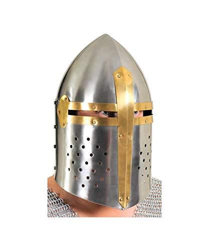 RedSkyTrader Mens Sugar Loaf Templar Armor Helmet One Size Fits Most Metallic