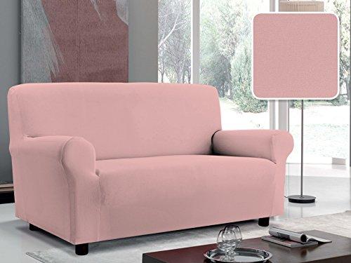 Italian Bed Linen Copridivano Bielastico Sagomato Tessuto a Struttura Liscia, 96% Poliestere, 4% elastometro, Rosa, 3 Posti