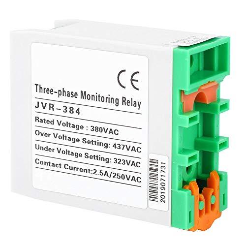 JVR-384 Protector de sobrevoltaje y bajo voltaje, relé de monitoreo de fuente de alimentación trifásica con indicador, protector de secuencia de fase de falla 380VAC