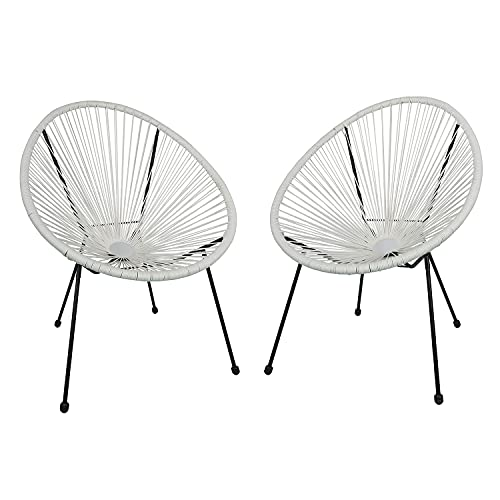 Ambientehome 2er Set Loungesessel Acapulco Weiss Sessel
