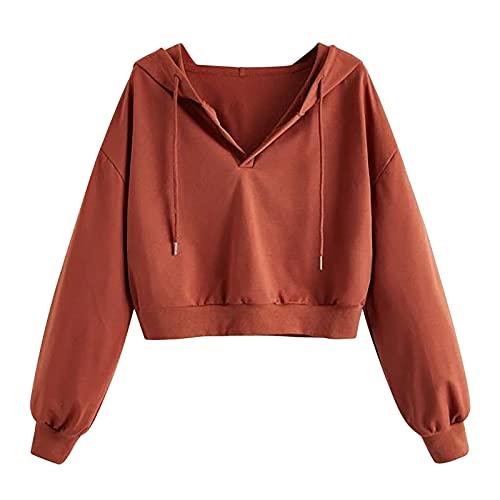 Sudadera con capucha para mujer y adolescente, con estampado de cartas, de manga larga, con capucha, con cordn, monocolor, marrn, XXL