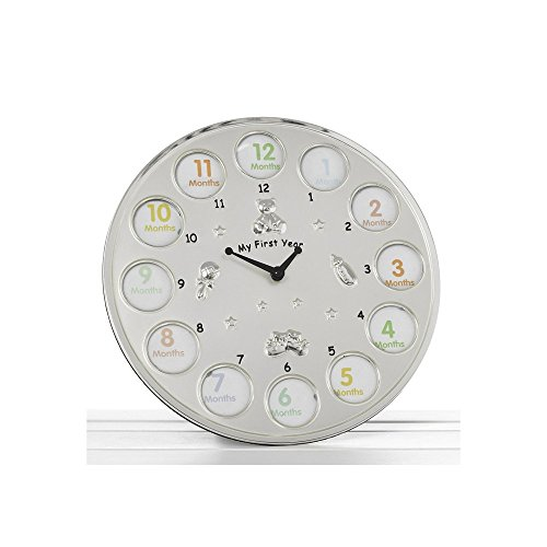 * ' My First Year ' Clock Photo Frame Babys First Birthday Christening Gift - Holds 12 photos *