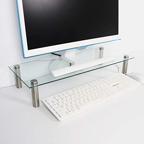 U HOME Computer Glass Monitor Stand Riser, Tempered Glass,22' x 9.45' Glass Ergonomic Desktop Stand for Computer Monitors, Laptops, Keyboards, Notebook, Clear
