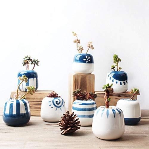 Lorenory bloempotten voor planten, 8 stuks, klassiek, blauw en wit, keramiek, bloempotten met vetplanten, oosterse stijl, planten, tuin, huis, kantoor decoratie