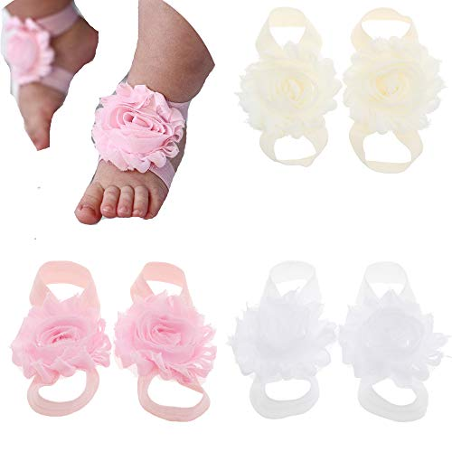 KEKEDA Baby Barefoot Sandals Baby Shoes Baby Girl Summer Shoes Newborn Sandals 3pairs/lot (A)