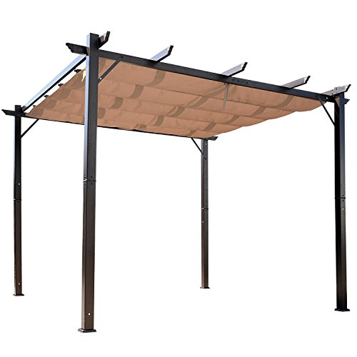 Outsunny 10' x 10' Aluminum Retractable Pergola with Canopy...