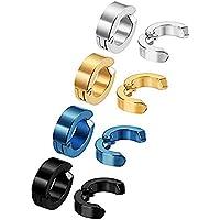 4 pares Pendiente sin Perforación Aros de Orejas Falsos para Hombres y Mujeres, Acero Inoxidable, Oro, plata, negro y azul.