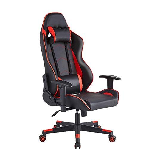 Ergonomische Dreh Spiel Stuhl, Heimbürostuhl mit Armlehnen und Massagefunktion Liege Internetbar Sessellift und Spiel Lehner,Rot