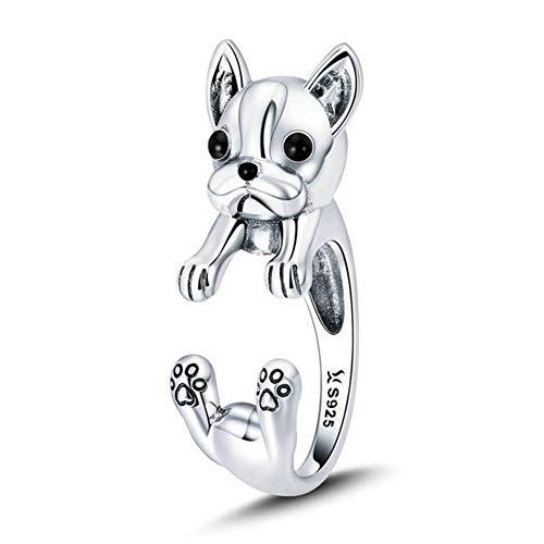 Wacelethh Bellamente Diseñado Anillo En Multi-Animal Plata De Ley 925 Regalo Ideal para Sus Amigos Y Familiares,Dog