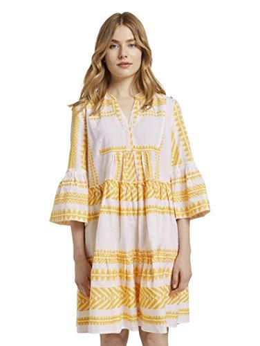 TOM TAILOR Damen Utility Kleid, 25536-white Yellow Large i, 36