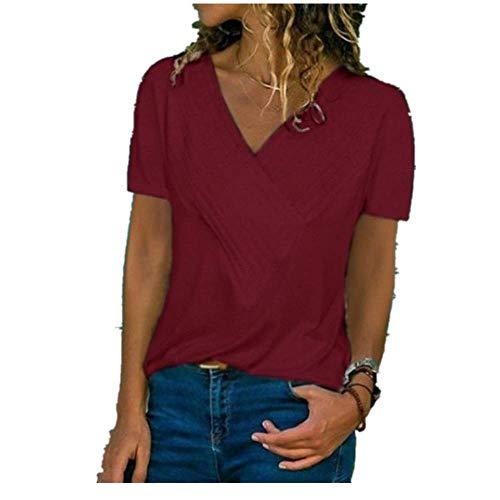MOMOXI Verano Tops/Blusas/Camisas para Mujer, Mujeres de Moda de Verano con Cuello en V Manga Corta Camiseta Pura Blusa Superior