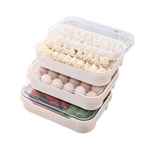 ZQJD Caja de huevos de varias capas transparente para el hogar, cocina congelada con bolas de masa de masa, nevera, bandeja para guardar huevos, chasis + tapa, tres juegos
