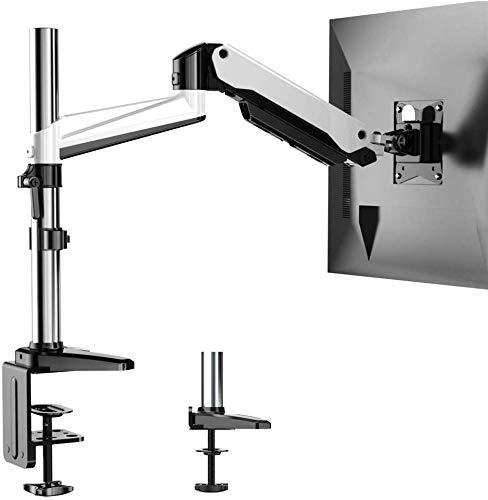 HUANUO Aluminium Monitor Beugel Hoogte Verstelbaar, Gasveer Arm 360 ° Draaibaar voor 13 tot 32 inch Scherm, 2 Opzettende Opties