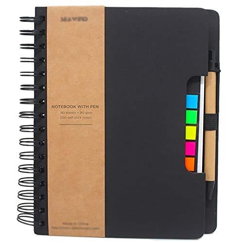 Cuaderno en espiral GRT Steno bloc de notas con rayas anchas con bolsillo, bolígrafo en soporte de notas adhesivas de colores, marcadores de página, diario para la escuela oficina negocios