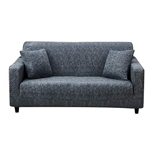 Hotniu Plaid Stretch Sofaschonbezug, Weich & Waschbar, Sofa Couchbezug, Rutschfester Sofabezug mit Gummizug unten, Möbelschutz mit 1 Gratis Kissenbezug (groß, grau)