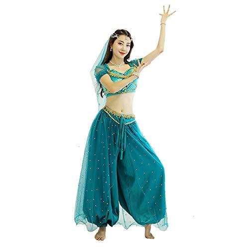 Aladdin Lámpara Mágica Traje Cosplay Europa Y América Traje Adulto Halloween Sentido Femenino Traje Etapa Jasmine Princesa (Color : Green, Size : S)