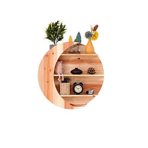 "Muoldjin Moon Shelf for Crystals Wooden Floating Crescent Display Shelf Heavy Duty Essential Oils Wall Decor Hanging Storage for Bedroom, Kitchen, Bathroom, Living Room,11.26"" Diameter Natural Wood"