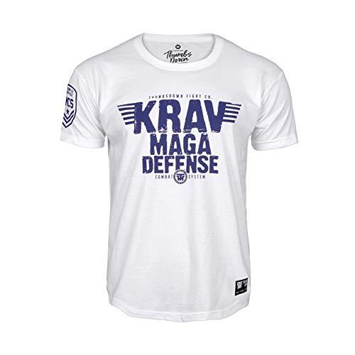 Thumbsdown Pulgares Down Krav Maga Camiseta Combat Descripción Quiet Professionals. MMA. Gimnasio Entrenamiento. Ropa Deportiva. Marcial Artes Informal - Blanco, Small
