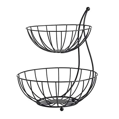 mlloaayo Cesto Portafrutta A 2 Ripiani Salotto Nordico Arte in Ferro per Cucina, Verdura, Articoli da Toeletta, Nero E Dorato