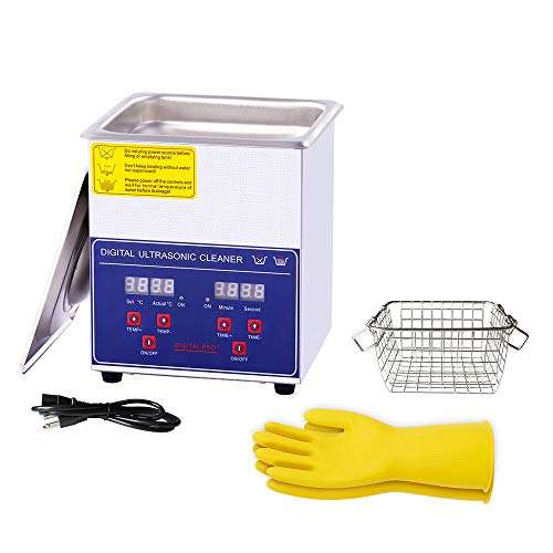 Ultrasonic Cleaner 2L, with Digital Timer&Heater for Jewelry Glasses Watch Dentures Small Parts Circuit Board Dental Instrument, Industrial Commercial Ultrasound Cleaning Machine 110V