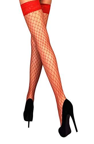 Mila Marutti Netzstrümpfe, halterlose, oberschenkellange Strümpfe, Spitzenrand mit Silikon, Nylon-Strumpfwaren - Rot - Large