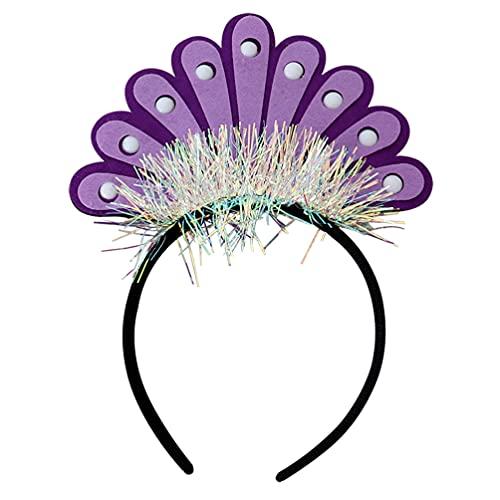 STOBOK Corona de Cumpleaños LED Diadema de Cola de Pavo Real Linda Aro de Luz para El Pelo Fiesta de Cumpleaños Favor Regalos para Niños Niña Adulto (Púrpura)