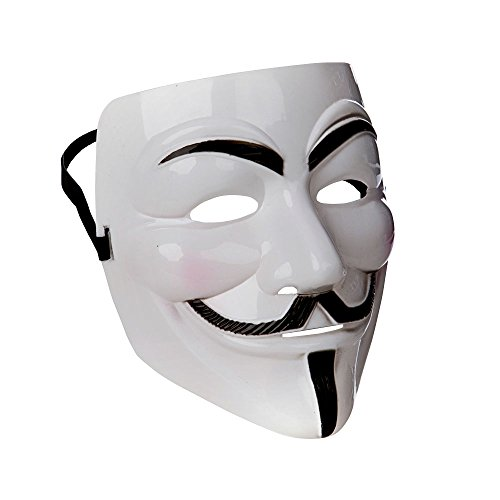 White Anonymous Mask Fancy Dress Adult