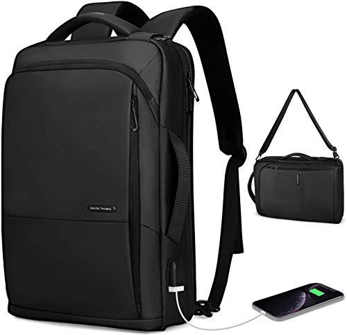 MS MARK RYDEN Zaino per laptop da lavoroda uomo, borsa a tracolla impermeabile 3 in 1 da 15,6 pollici per uomo e donna con porta USB