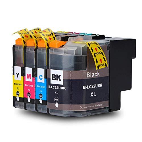 Teng® LC22UXL (1 x Schwarz, 1 x Cyan, 1 x Magenta, 1 x Gelb) Ersatz für Brother LC22U XL Tintenpatronen, hohe Kapazität mit Spänen, funktioniert mit Drucker Brother DCP-J785DW MFC-J985DW