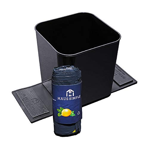 Trash Cans for Cars– 1.4 Gallon Plastic Vehicle Garbage Can with Stability Flaps + 20 Drawstring Trash Bags – 7.5 x 7.3 in. Black Trash Can for Car, SUVs, Minivans, and Trucks by Haussimple