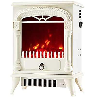 NETTA Electric Fireplace Stove Heater 2000W with Fire Flame Effect, Arch Design, Freestanding Portable Electric Log Wood Burner Effect.