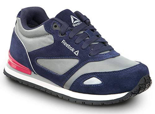 Reebok Work Prelaris, Navy/Grey/Pink, Women's, Jogger Style Slip Resistant Soft Toe Work Shoe (7.0 M)