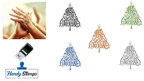 Merry Christmas Tree Hand Stamp - Suitable for Festivals, Parties, Clubs, Special Events, Bars etc. (Black)