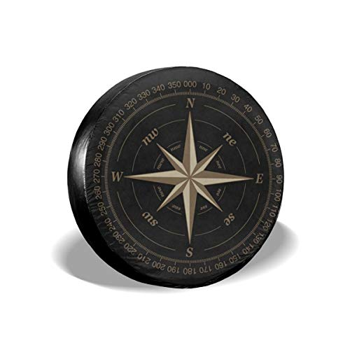 Compass Rose Black Spare Tire Cover UV Sun Wheel Covers Fit for Jeep,Trailer, RV, SUV and Many Vehicle 15 Inch