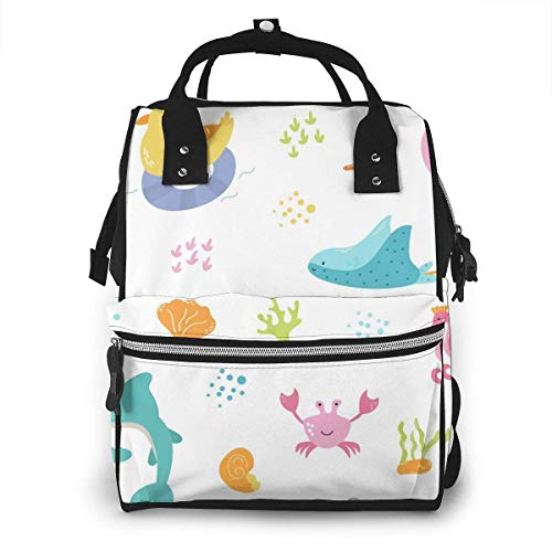 UUwant Sac à Dos à Couches pour Maman Large Capacity Diaper Backpack Travel Manager Baby Care Replacement Bag Nappy Bags Mummy Backpack,(Beautiful Underwater World