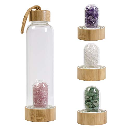 yippee Crystal Elixir Infused Water Bottle, Bamboo Borosilicate Glass with 4 Styles Removable Natural Gemstones -Rose quartz, Amethyst, Clear Himalaya quartz, Green Aventurine