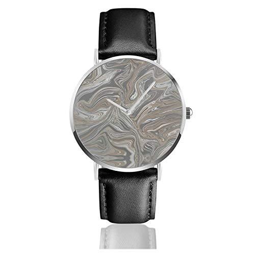 Reloj de cuero Prosecco Sparkle Marble Copper Unisex Classic Casual Fashion Quartz Reloj de acero inoxidable con correa de cuero