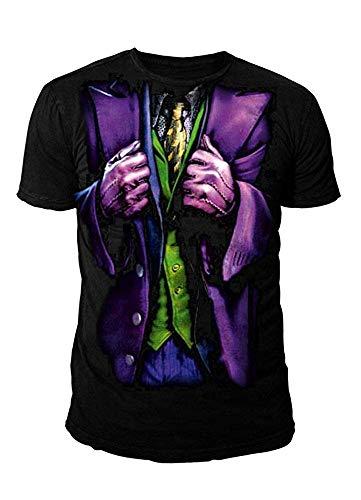 Batman DC Comics Herren T-Shirt - The Joker Kostüm (Schwarz) (S-XL) (L)