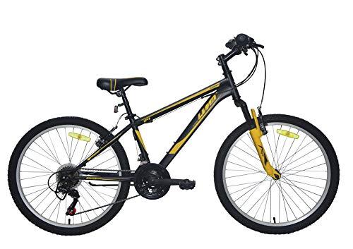 Umit 24 Pulgadas Negra/Amarilla, Bicicleta XR-240 Partir de 9 años, con Cambio Shimano y Suspension Delantera, Unisex niños
