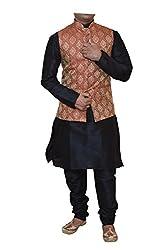 Modern Garments Men Black Dupioni Silk Kurta Pyjama & Waistcoat