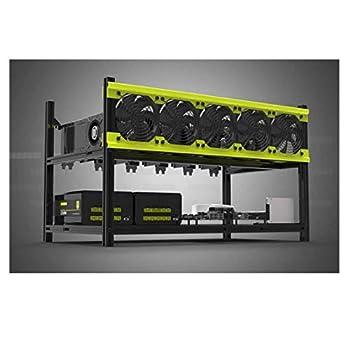 RXFSP 6/8 GPU Aluminum Stackable Open Air Mining Computer Frame Rig Ethereum Veddha  V3D-6GPU+5FANS