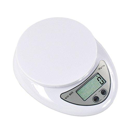 Szaerfa Balanza de cocina pequeña y precisa Pesaje de comida digital Balanzas de pesaje electrónica 5000g con función de tara para cocinar en la cocina casera (Blanco)