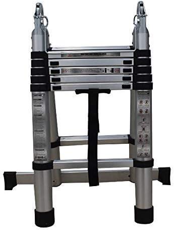 popular Aluminum Telescopic Extension outlet sale Ladder Folding Step One-Button Inward Sliding Retraction 12.5FT / 3.8M 14.5FT/4.4M 16.5FT/5M online sale Multi-Use Non-Slip (12.5ft) outlet online sale