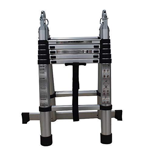 Aluminum Telescopic Extension Ladder Folding Step One-Button Inward Sliding Retraction 12.5FT / 3.8M 14.5FT/4.4M 16.5FT/5M Multi-Use Non-Slip (12.5ft) Illinois
